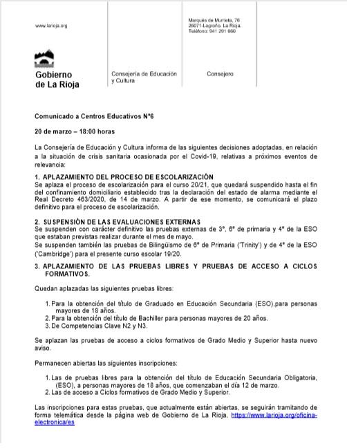 200320 COMdo CªEDU Rioja Medidas nº6 Covid19